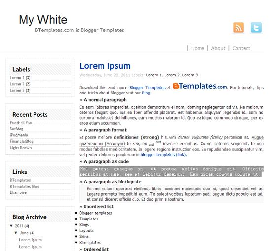 my white minimal blogger theme