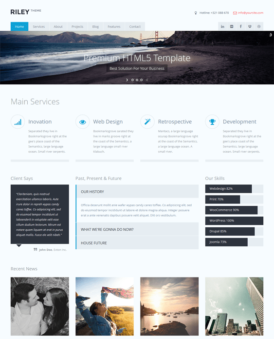 riley parallax drupal theme