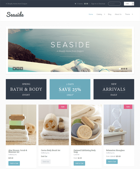 seaside flat shopify theme