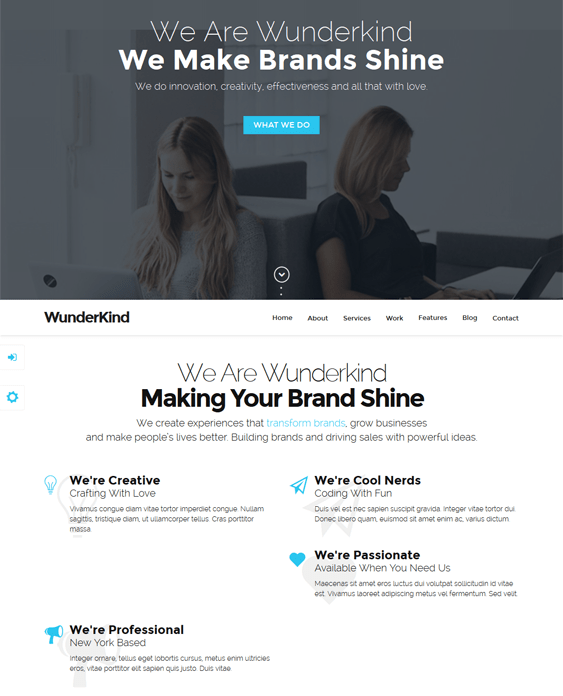 wunderkind one page drupal theme