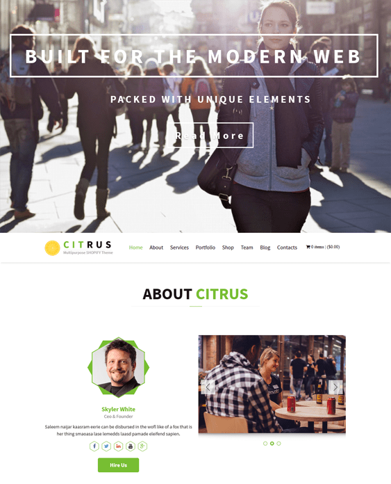 citrus parallax shopify theme