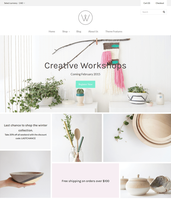 grid light arts crafts shopify themes