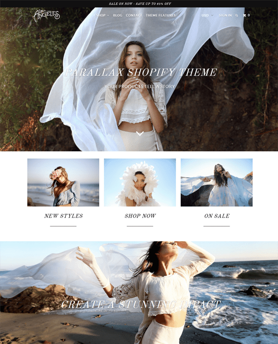 los angeles parallax shopify theme