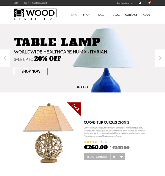 wood furniture parallax shopify theme