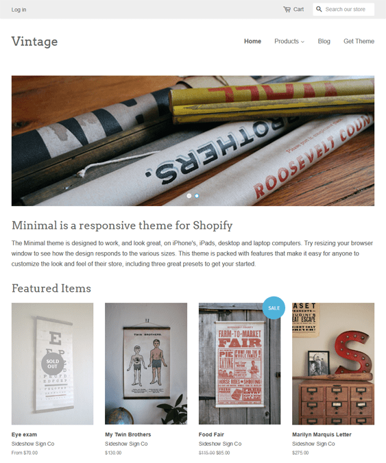 free minimal vintage arts crafts shopify themes