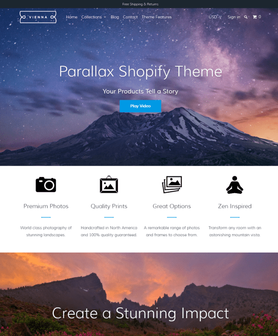parallax vienna arts crafts shopify themes