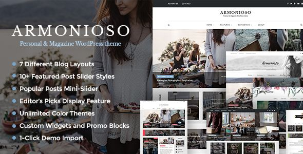 Armonioso by Dedalx video blog WordPress theme
