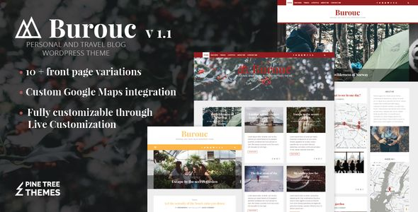 Burouc by PineTreeThemes (video blog WordPress theme)
