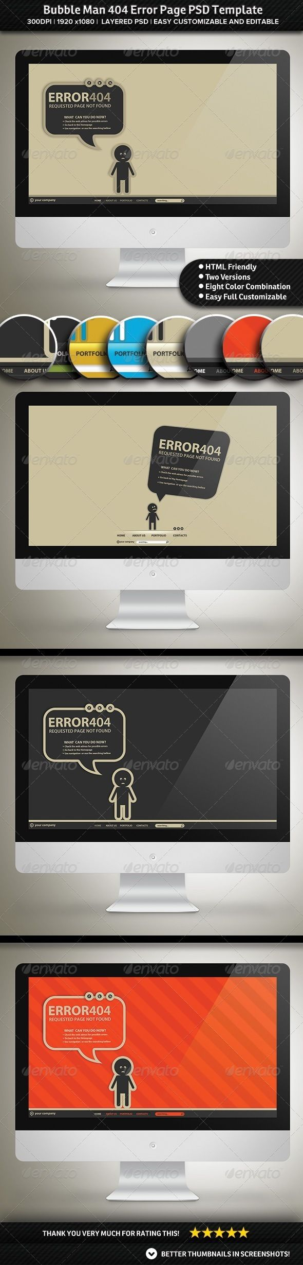 Bubble Man Error Page PSD Template by AddtoFavorites (layered 404 page template)