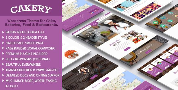 Cakery by Templatation (WordPress theme for bakeries, cafes and food retail stores)