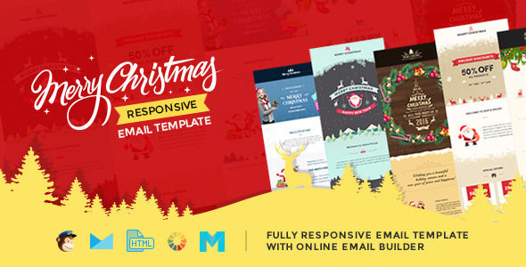 Christmas Responsive Email Template With Builder by Themezaa (email templates for use with Mailchimp)