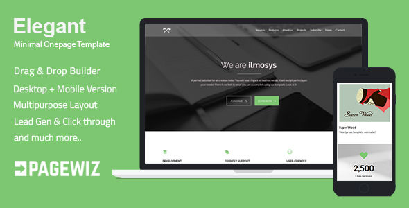 Elegant by Ilmosys (landing page template for PageWiz)