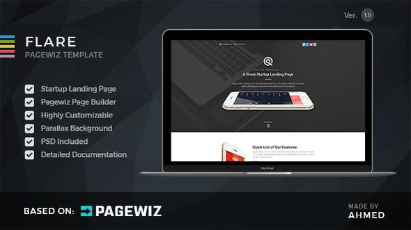 Flare by Morad (landing page template for PageWiz)