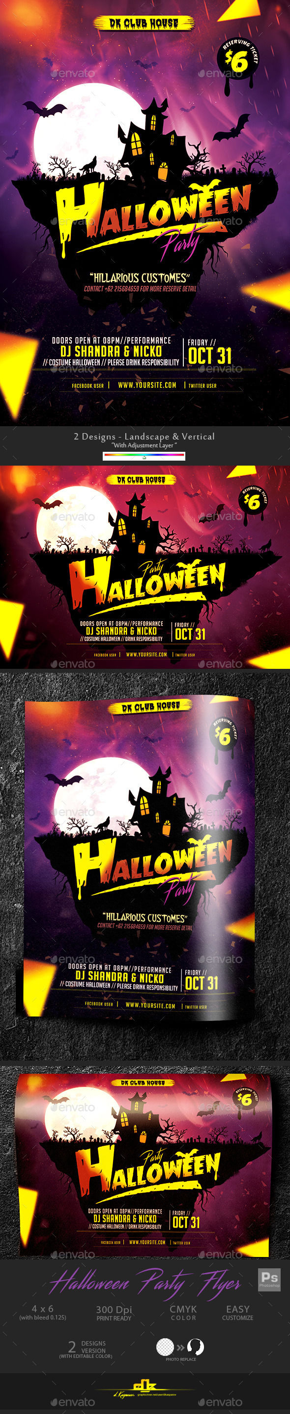 Halloween Flyer Template by Dkasparov (Halloween party flyer)