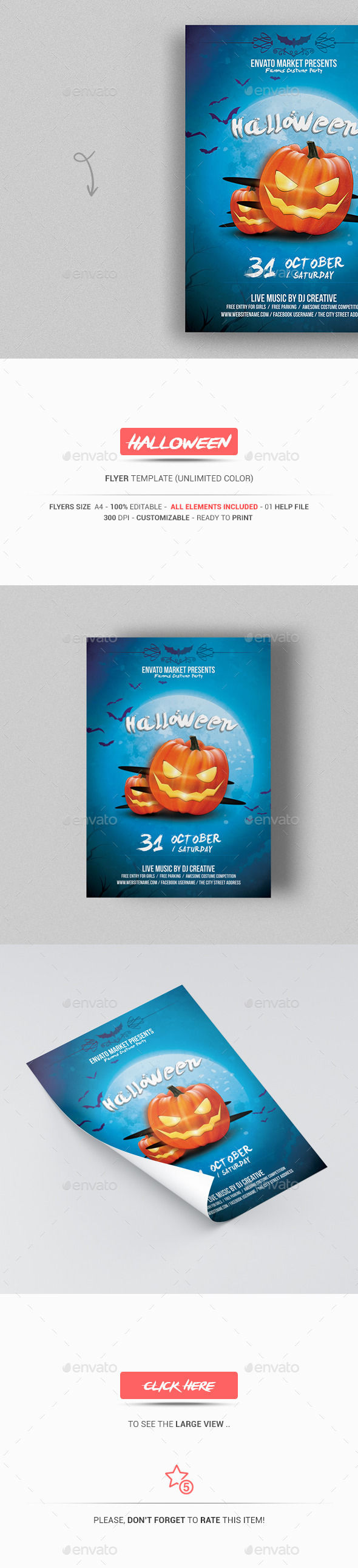 Halloween Flyer Template by GraphicExpert (Halloween party flyer)