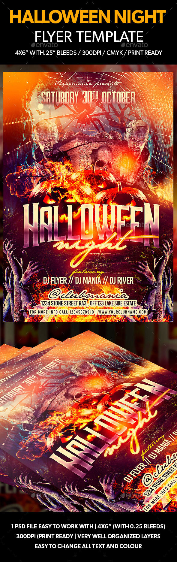 Halloween Night Flyer Template by Flyermania (Halloween party flyer)