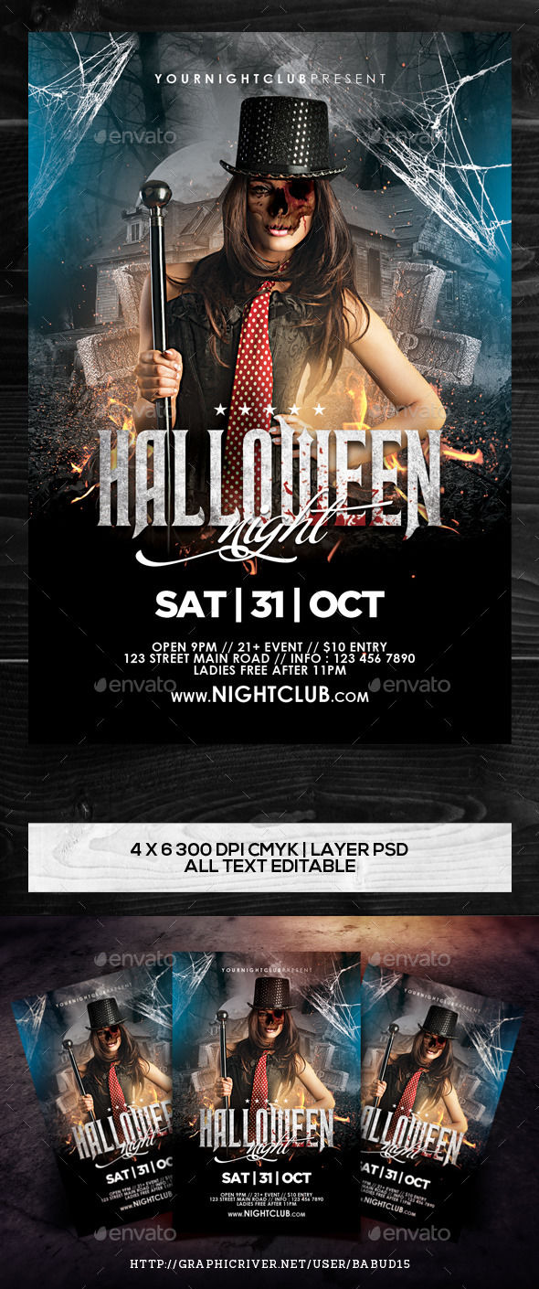 Halloween Night Flyer Template by Angkalimabelas (Halloween party flyer)