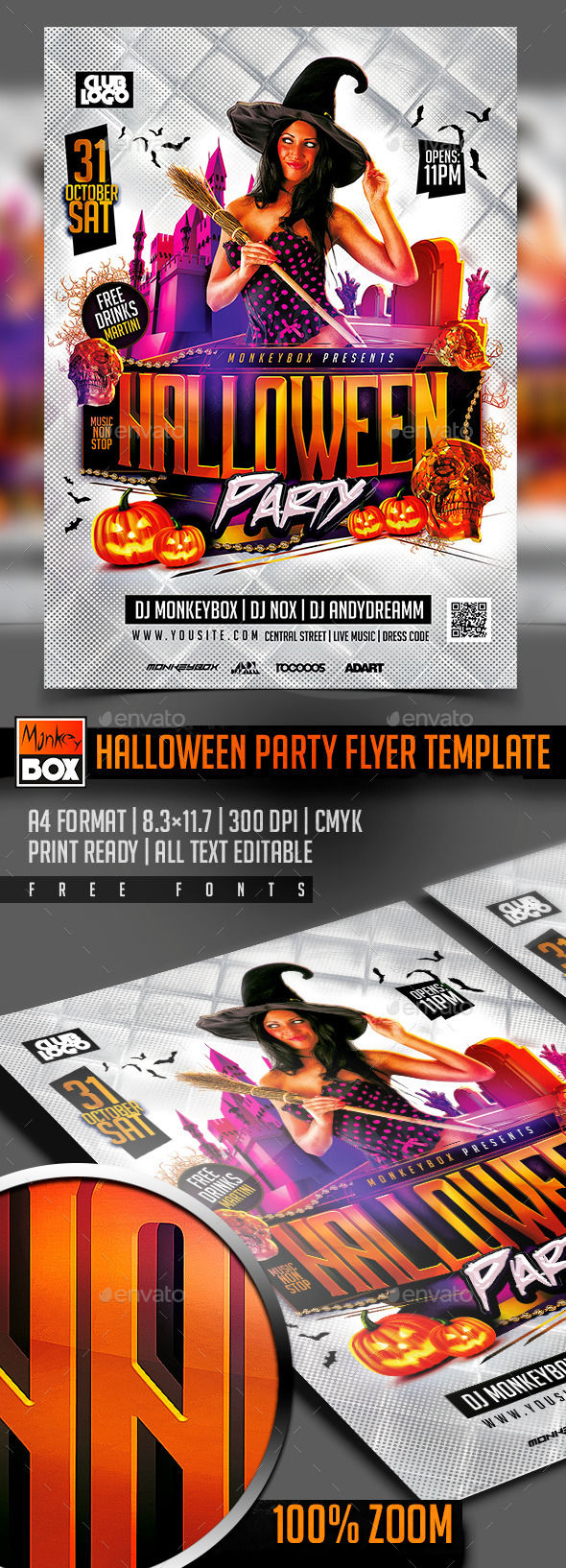 Halloween Party Flyer Template by MonkeyBOX (Halloween party flyer)