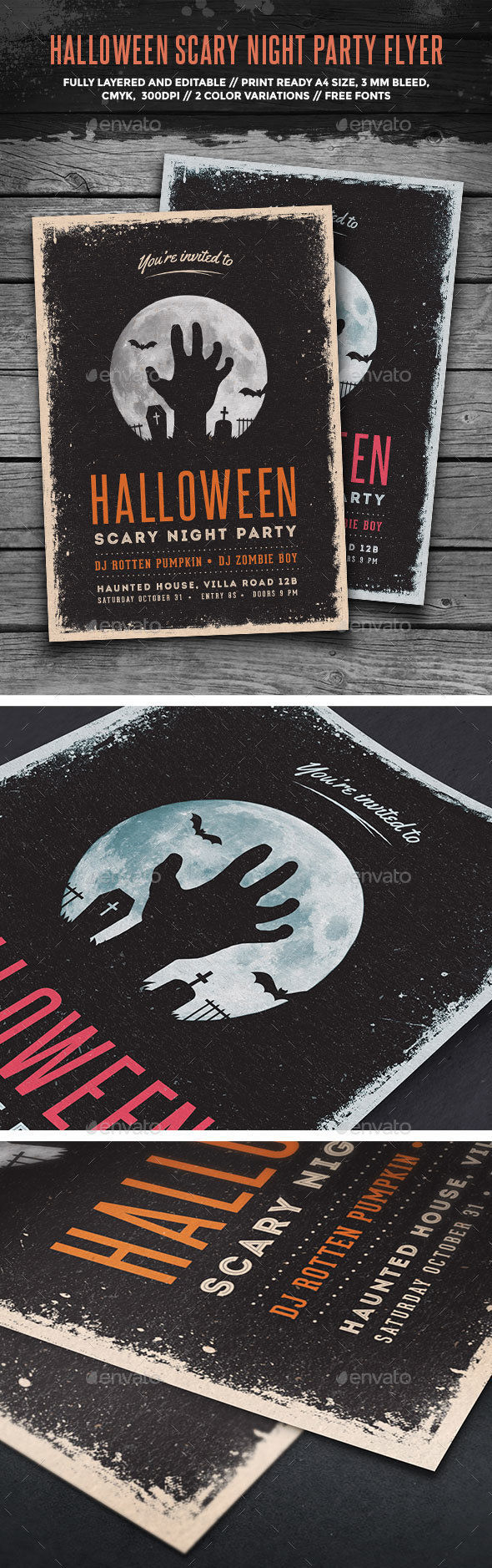 Halloween Scary Night Party Flyer by GraphicGoods (Halloween party flyer)