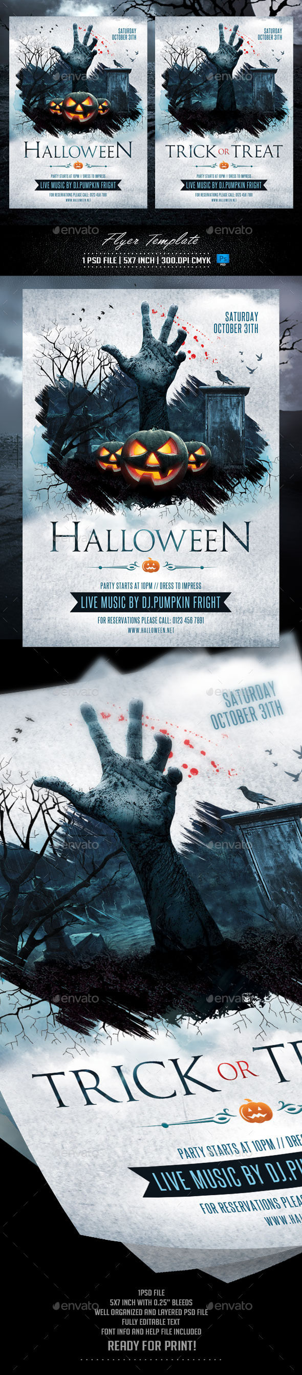 Halloween And Trick Or Treat Flyer Template by Briell (Halloween party flyer)