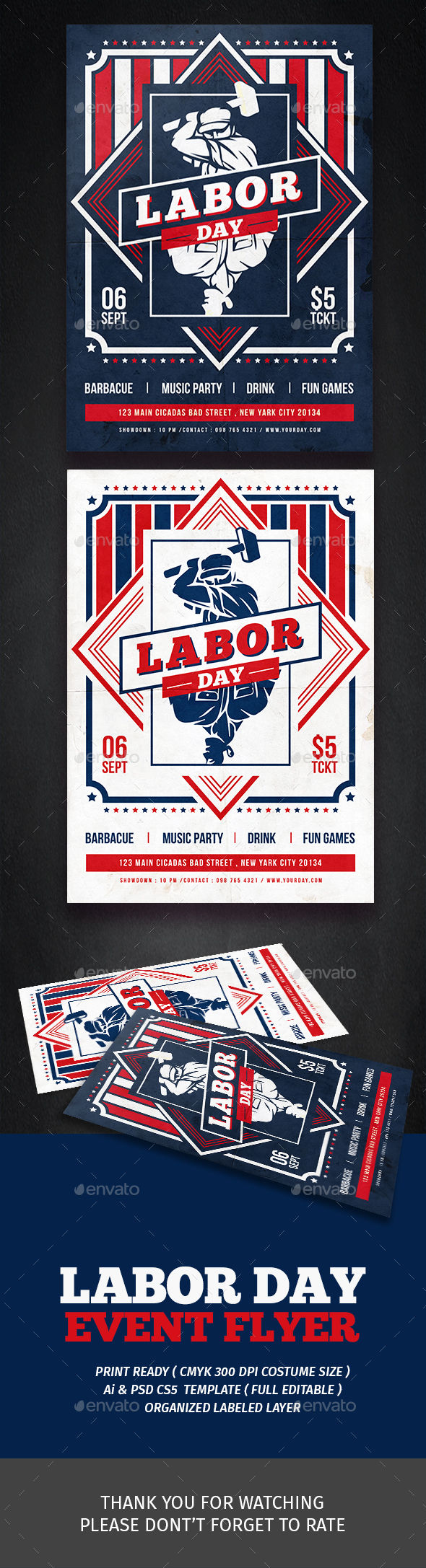 Labor Day Festival Flyer by Tokosatsu (Labor Day party flyer)