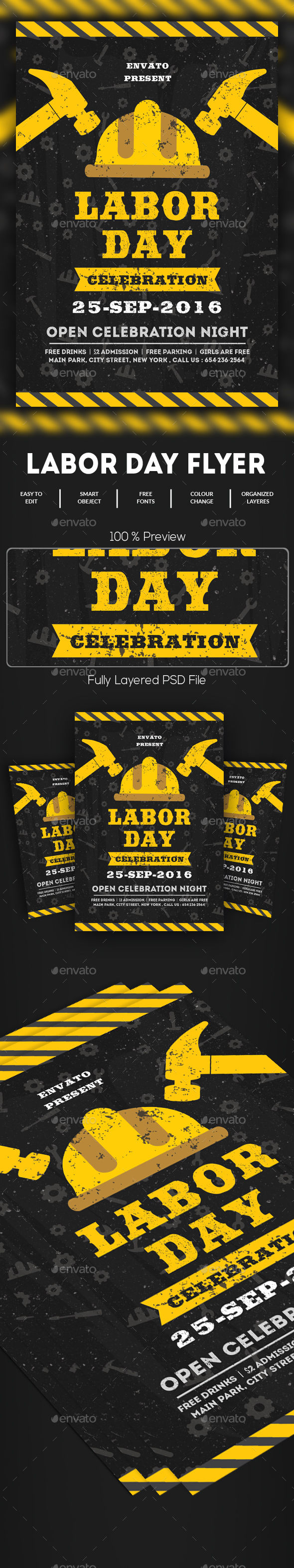 Labor Day Flyer by GOURAVDESIGNS (Labor Day party flyer)