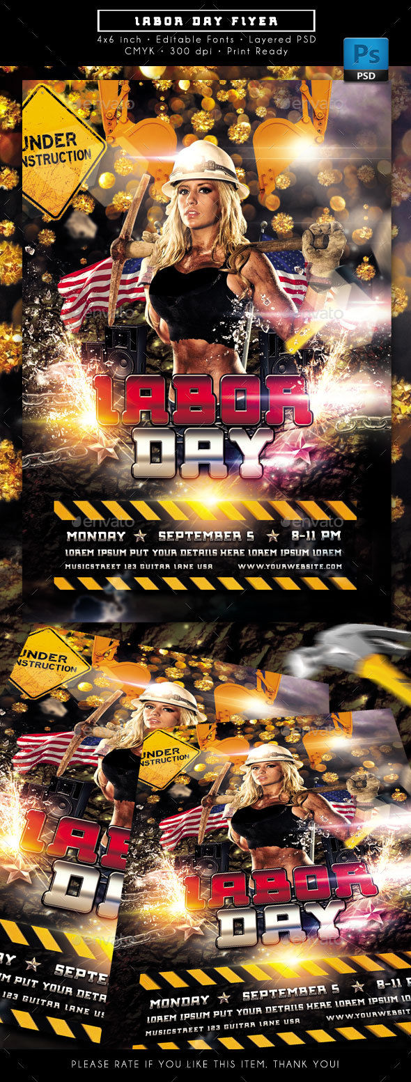 Labor Day Weekend Flyer by Rudyvector (Labor Day party flyer)