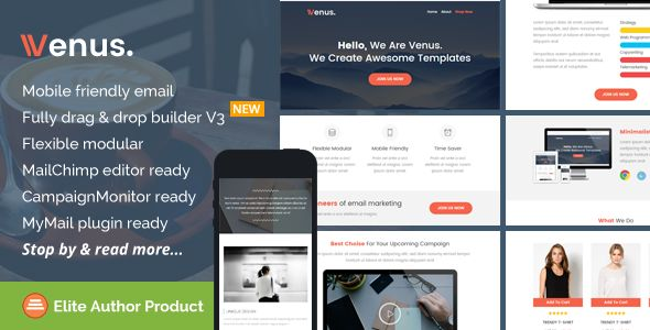 Venus by Saputrad (email templates for use with Mailchimp)