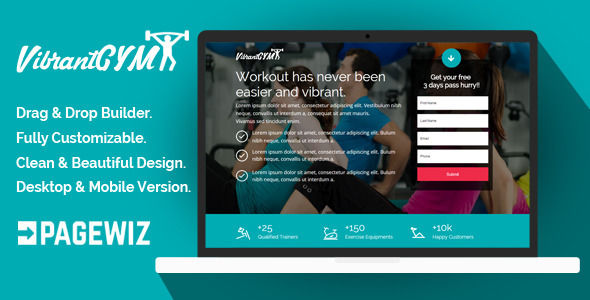 VibrantGYM by Demustang (landing page template for PageWiz)