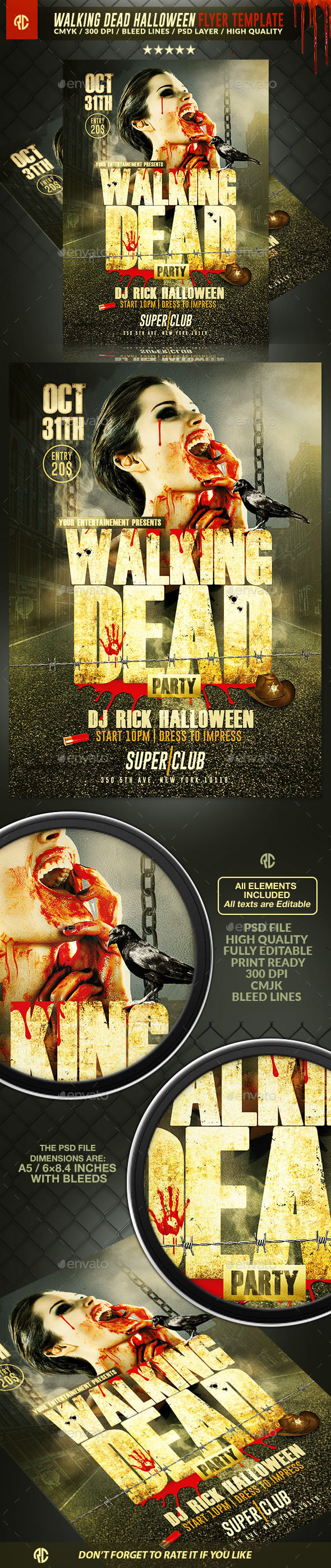 Walking Dead Halloween by RomeCreation (Halloween party flyer)