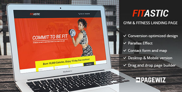 Fitastic by GBJsolution (landing page template for PageWiz)
