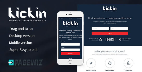 Kickin Pagewiz Conference Event Landing Page by Twisted-d (landing page template for PageWiz)
