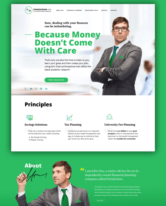 financial wordpress themes advisor