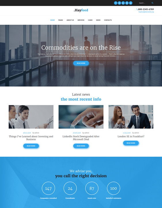 investment financial wordpress themes