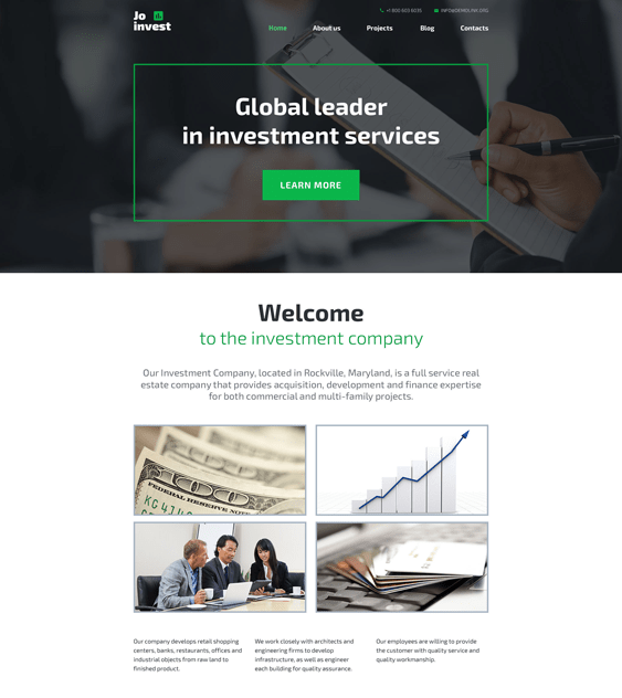 jo invest financial wordpress themes