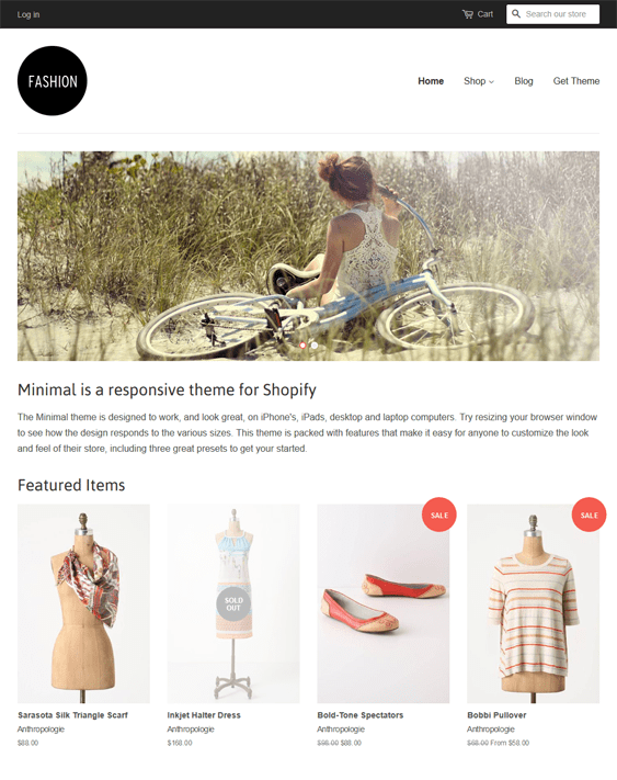 minimal fashion free responsive shopify themes