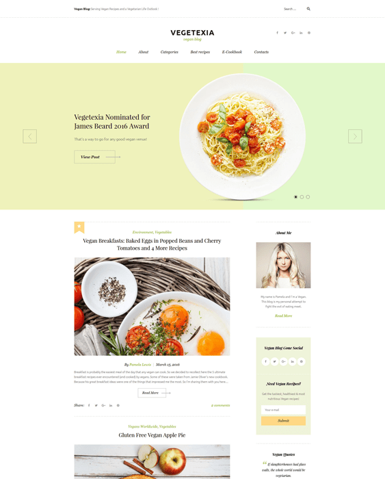 vegetarian cooking recipe wordpress themes