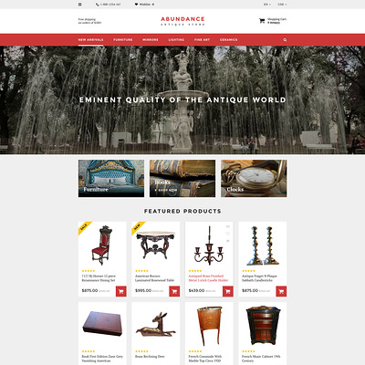 Abundance OpenCart Template (OpenCart theme for antique stores) Item Picture
