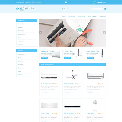 Air Conditioners OpenCart Template (OpenCart theme for home improvement and consttruction supply stores) Item Picture