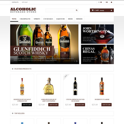 Alcoholic Beverages Market PrestaShop Theme (PrestaShop theme for liquor, alcohol, beer, and wine stores) Item Picture