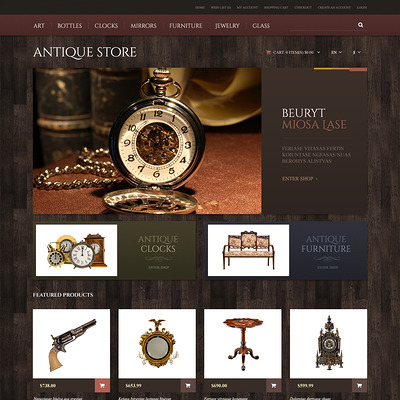 Antique Store Responsive OpenCart Template (OpenCart theme for antique stores) Item Picture