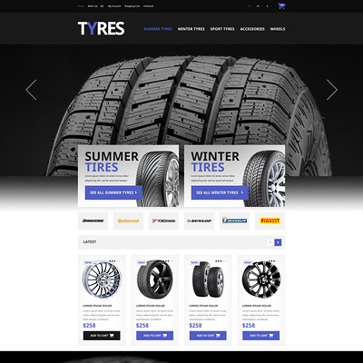 Automobile Tires OpenCart Template (OpenCart theme for automotive, car, and vehicle stores) Item Picture