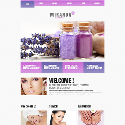 Beauty Salon Responsive WordPress Theme (WordPress theme for hair and beauty salons and spas) Item Picture