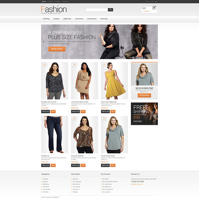 Clothes for Plump Women PrestaShop Theme (PrestaShop theme for womens clothing) Item Picture