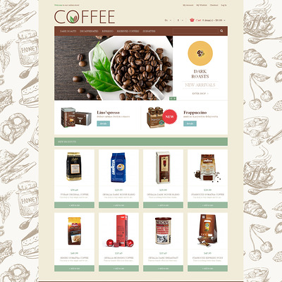 Cup of Coffee Magento Theme (Magento theme for coffee and tea stores) Item Picture