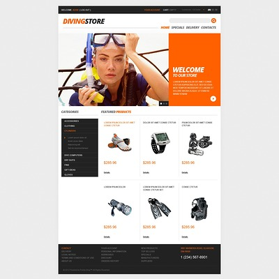 Deep Diving PrestaShop Theme (PrestaShop theme for scuba diving stores) Item Picture