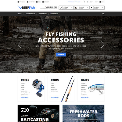 DeepFish Magento Theme (Magento theme for fishing equipment) Item Picture