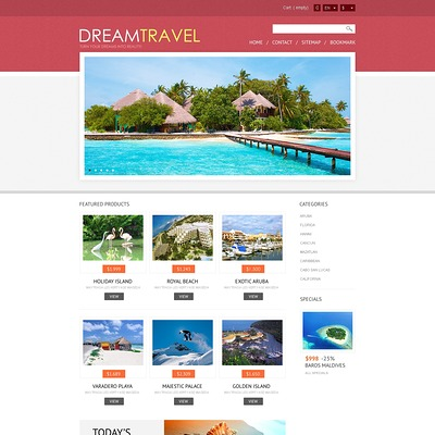 Dream Travel Store PrestaShop Theme (PrestaShop themes for travel and tourism companies) Item Picture