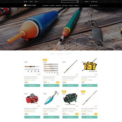 Fishing Accessories PrestaShop Theme (PrestaShop theme for fishing stores) Item Picture