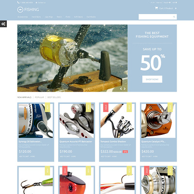 Fishing Equipment PrestaShop Theme (PrestaShop theme for fishing stores) Item Picture